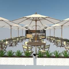 Area de Mesas: Restaurantes de estilo  por Atahualpa 3D