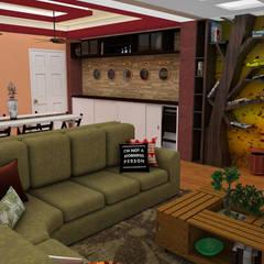 Diseño de Apartamento pequeño con elementos multifincionales: Salas de entretenimiento de estilo  por Rbritointeriorismo