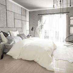 Biało-czarna elegancja: styl , w kategorii Sypialnia zaprojektowany przez Formea Studio