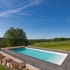 Eingebettet in den Hang: ausgefallener Pool von Hesselbach GmbH
