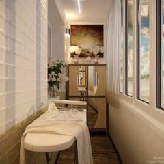 Дизайн балкона в ЖК по ул. Казбекская: Tерраса в . Автор – Студия интерьерного дизайна happy.design