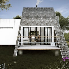 Proyecto Cabaña: Terrazas de estilo  por FERAARQUITECTOS, Escandinavo