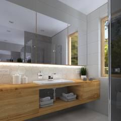 Dom jednorodzinnny - Racula - Zielona Góra Nowoczesna łazienka od KADA WNĘTRZA S.C. Nowoczesny