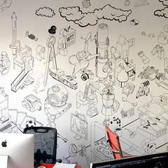 Murale: styl , w kategorii Domowe biuro i gabinet zaprojektowany przez Pracownia Projektowa Hanna Kłyk