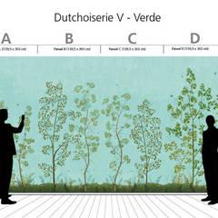 Hand-painted wallpaper - Dutchoiserie V:  Slaapkamer door Snijder&CO