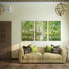 Дизайн кабинета в стиле фьюжн: Рабочие кабинеты в . Автор – Студия интерьерного дизайна happy.design