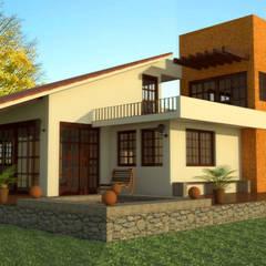 Casa de Campo: Casas de estilo  por PRISMA ARQUITECTOS, Rústico Ladrillos