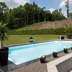 Blick auf den schönen GFK Pool: ausgefallener Pool von Hesselbach GmbH