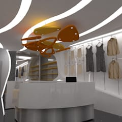 VISTA FRONTAL INTERIOR : Espacios comerciales de estilo  por CelyGarciArquitectos c.a.