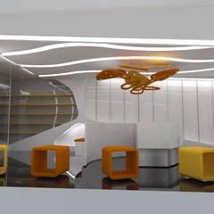 VISTA INTERIOR LATERAL: Espacios comerciales de estilo  por CelyGarciArquitectos c.a.