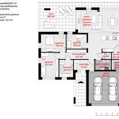 Projekt domu HomeKONCEPT-27- rzut parteru: styl nowoczesne, w kategorii Domy zaprojektowany przez HomeKONCEPT   Projekty Domów Nowoczesnych