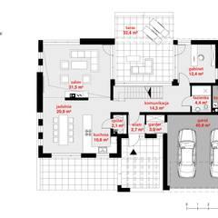Projekt domu HomeKONCEPT-13- rzut parteru: styl , w kategorii Domy zaprojektowany przez HomeKONCEPT | Projekty Domów Nowoczesnych