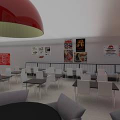 Vista bar para espaço refeições.: Bares e clubes  por Estúdio 12b