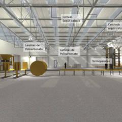 Galera de Bloques. Panamá para Consultora SSG: Garajes y galpones de estilo  por Cup Studio
