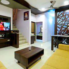 3 BHK Duplex:  Living room by ZEAL Arch Designs