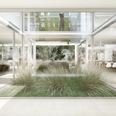 Casa Racionalista EZ en el Barrio Golf, Nordelta, Buenos Aires: Jardines de invierno de estilo  por Estudio Medan Arquitectos