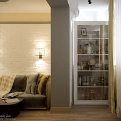 """Дизайн кухни - гостиной в стиле фьюжн в ЖК """"Каскад"""": Tерраса в . Автор – Студия интерьерного дизайна happy.design, Кантри"""