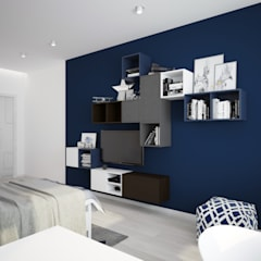 """Детская комната """"blue wall"""":  Bedroom by СТУДИЯ   'ДА' ДАРЬИ АРХИПОВОЙ"""