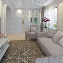 2к.кв. в ЖК Атлант (64 м.кв): Гостиная в . Автор – ДизайнМастер,