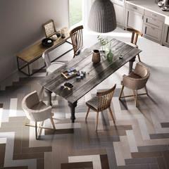 Een visgraat ontwerp met vloertegels die het design van de keuken versterken: rustieke & brocante Keuken door Sani-bouw
