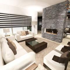 Sala Casa 57 Casa Fuerte: Salas de estilo moderno por Prototipo Arquitectos