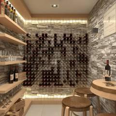 Nowoczesny, ciepły dom w Beskidach: styl , w kategorii Piwnica win zaprojektowany przez MONOstudio,