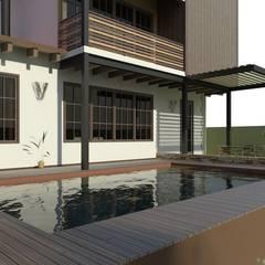 Proyecto de Residencia Campestre en Acero: Albercas de estilo  por Arq. Rodrigo Culebro Sánchez