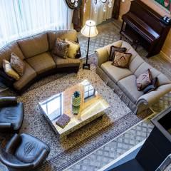 Дом из клееного бруса GOOD WOOD, 783 кв.м.: Гостиная в . Автор – GOOD WOOD