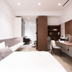 Minimalist Walnut Bedroom:  Bedroom by Sensearchitects Limited