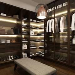 Minimalistyczne poddasze z klasą: styl , w kategorii Garderoba zaprojektowany przez MONOstudio