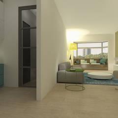 Geintegreerde werkplek: moderne Woonkamer door Studio DEEVIS