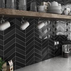 Chevron Wall Black Gloss & Matt 18,6x5,2: Cocinas de estilo  de Equipe Ceramicas