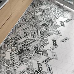 Chevron Blanco Mate, Decor Patchwork B&W Left & Right 9x20,5: Paredes de estilo  de Equipe Ceramicas