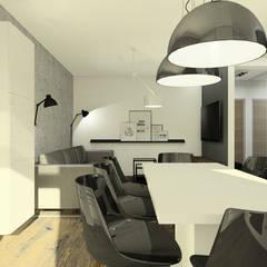 Apartament z czarną wyspą: styl , w kategorii Jadalnia zaprojektowany przez Esteti Design,