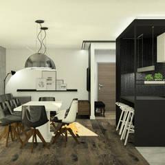 Apartament z czarną wyspą: styl , w kategorii Kuchnia zaprojektowany przez Esteti Design