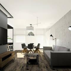 Apartament z czarną wyspą: styl , w kategorii Salon zaprojektowany przez Esteti Design