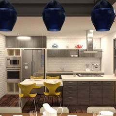 Proyecto de Residencia en Acero: Cocinas de estilo  por Arq. Rodrigo Culebro Sánchez
