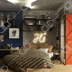 ​Interior Design and Rendering:  Bedroom by Design Studio AiD,Industrial Concrete