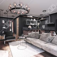 Interior Design and Rendering:  Living room by Design Studio AiD,Rustic Metal