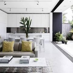 Salones de estilo moderno de casas eco constructora
