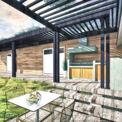 Diseño de Casa 3N en Valdivia por NidoSur Arquitectos: Terrazas  de estilo  por NidoSur Arquitectos - Valdivia
