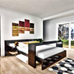 Diseño de Casa 3N en Valdivia por NidoSur Arquitectos: Dormitorios de estilo  por NidoSur Arquitectos - Valdivia