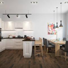 townhouse in scandinavian style:  Dining room by design studio by Mariya Rubleva