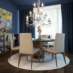 townhouse in modern style:  Dining room by design studio by Mariya Rubleva