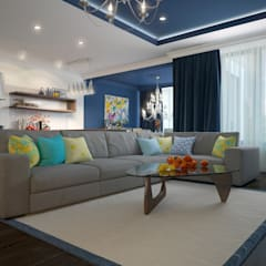 townhouse in modern style:  Living room by design studio by Mariya Rubleva