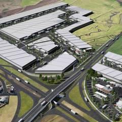Intersección de carretera con entrada a terrenos 1 y 2 del proyecto: Oficinas y tiendas de estilo  por Segovia ARQ,
