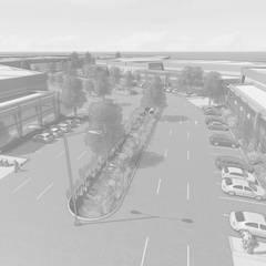 Arroyo central en avenidas principales del proyecto: Oficinas y tiendas de estilo  por Segovia ARQ,