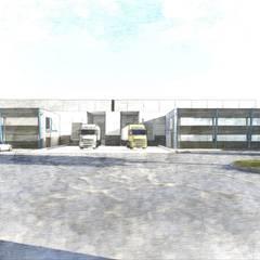 Fachada naves industriales: Oficinas y tiendas de estilo  por Segovia ARQ,