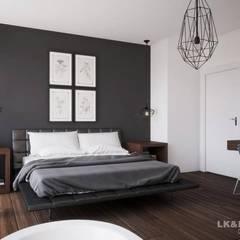 Weiß und Grau für ein cooles Einfamilienhaus.:  Schlafzimmer von LK&Projekt GmbH