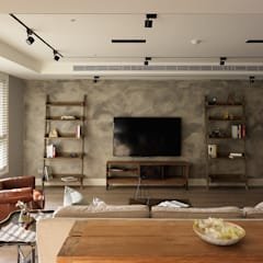 上城魅力,灰調美式:  客廳 by 陶璽空間設計